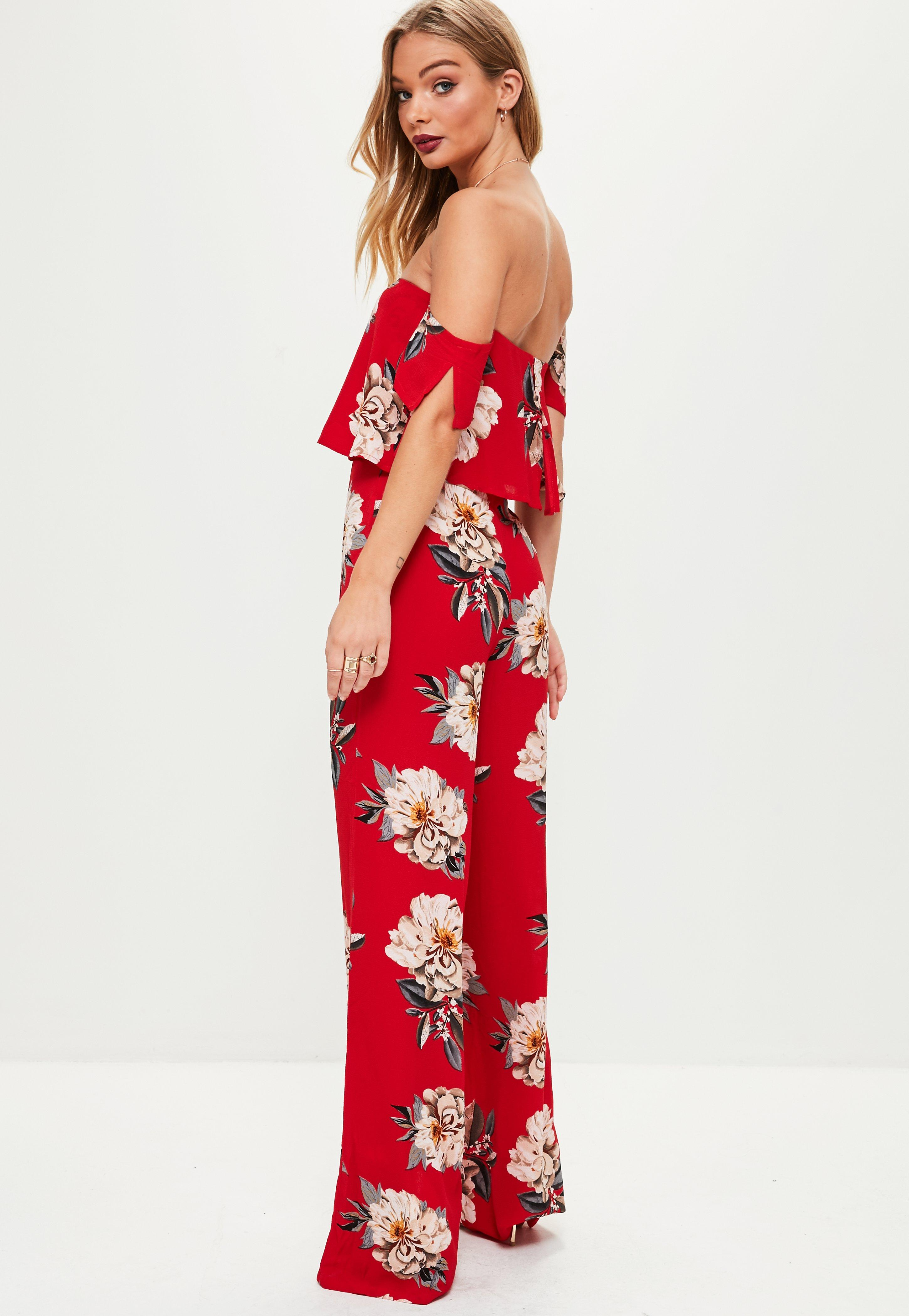 ce4d5617c8b9c Missguided Red Floral Crepe Overlay Bardot Jumpsuit at £30