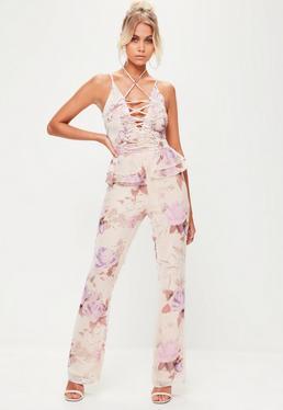 Combinaison nude à imprimé fleuri et détails corset