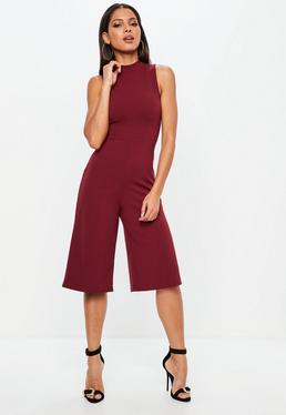 Red High Neck Kick Flare Jumpsuit