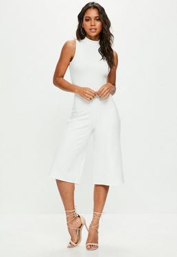 White High Neck Culotte Jumpsuit