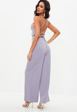 Purple Strappy Wide Leg Jumpsuit
