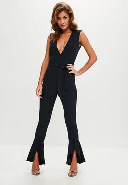 Navy Flared Leg Tailored Jumpsuit