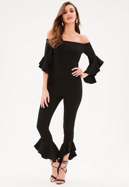 Black Bardot Frill Sleeve Leg Jumpsuit