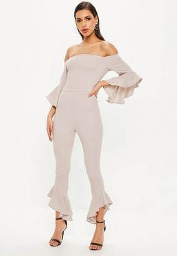 Grey Bardot Frill Jumpsuit