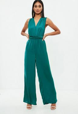 Green Satin Multi Way Wide Leg Jumpsuit