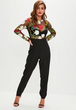 Black Floral Embroidered Mesh Jumpsuit
