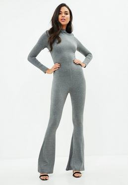 Grey Flared Jersey Jumpsuit