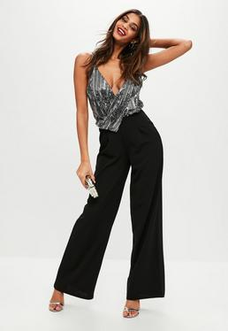 Black Sequin Wide Leg Jumpsuit
