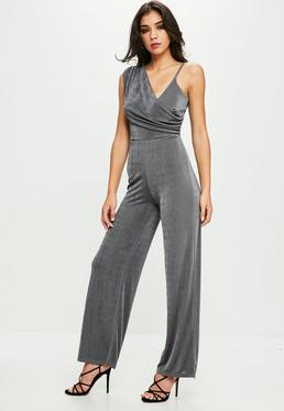 Gray Drape Shoulder Slinky Wide Leg Jumpsuit