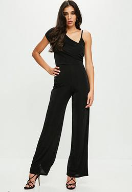 Black Drape Shoulder Slinky Wide Leg Jumpsuit