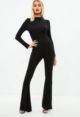 Black Flared Leg Jersey Jumpsuit