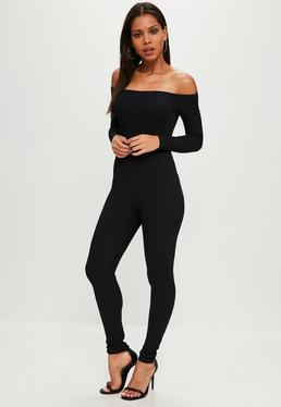 Black Ribbed Skinny Leg Jumpsuit