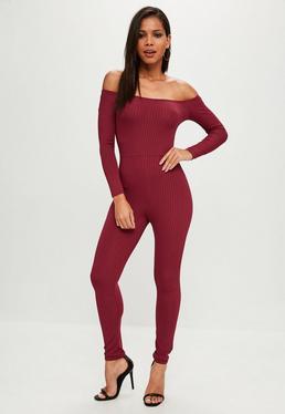Burgundy Ribbed Skinny Leg Jumpsuit