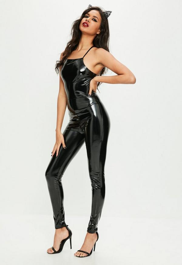 halloween black 90s neck vinyl jumpsuit missguided. Black Bedroom Furniture Sets. Home Design Ideas