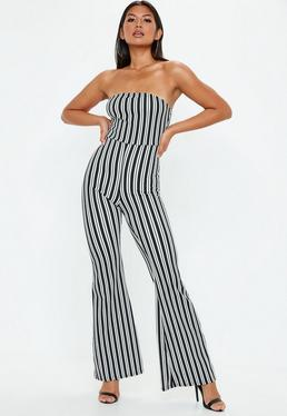 White Stripe Bardot Culotte Jumpsuit