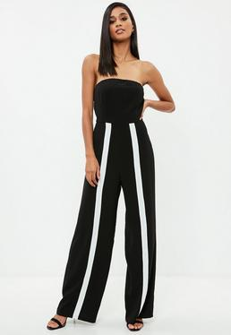 Black Bandeau White Stripe Leg Jumpsuit