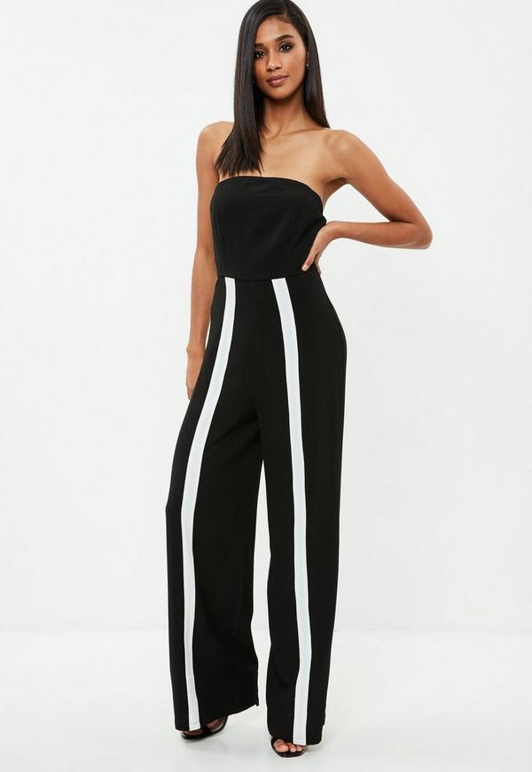 Black Bandeau White Stripe Leg Jumpsuit Missguided
