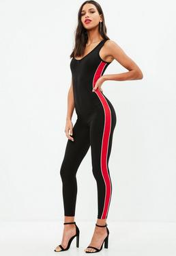 Red Zip Front Red Stripe Jumpsuit