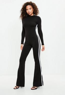 Black Flare Stripe Jumpsuit