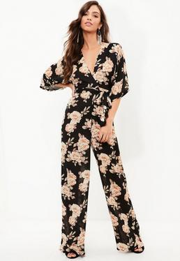 Black Floral Kimono Wide Leg Jumpsuit