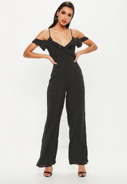 Black Polka Dot Cold Shoulder Jumpsuit