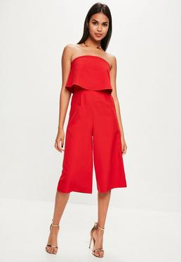 Red Layered Culottes Jumpsuit