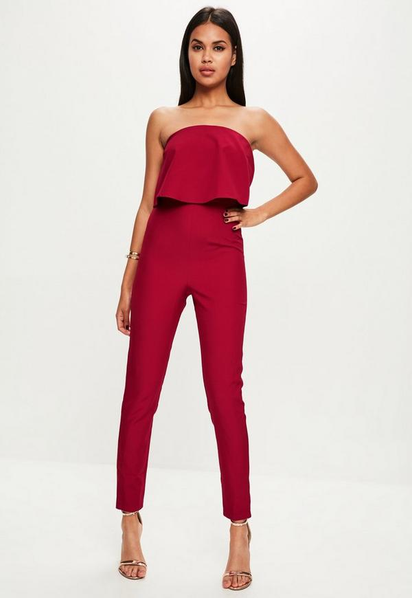 Burgundy Layered Jumpsuit | Missguided