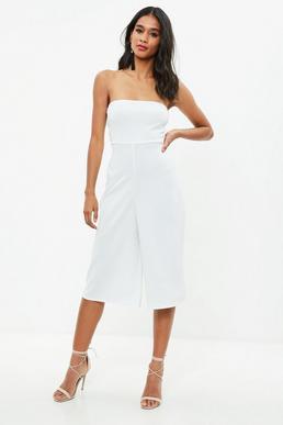 Cream Bandeau Culotte Jumpsuit