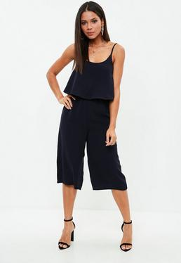 Black Double Layer Culotte Jumpsuit
