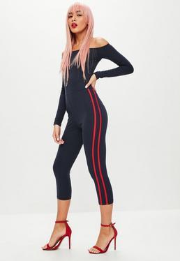 Navy Bardot Stripe Jumpsuit