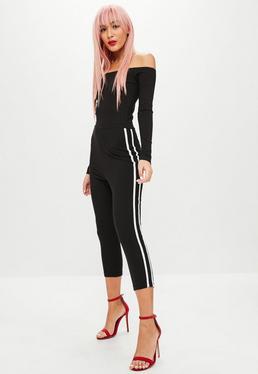 Black Bardot Stripe Jumpsuit