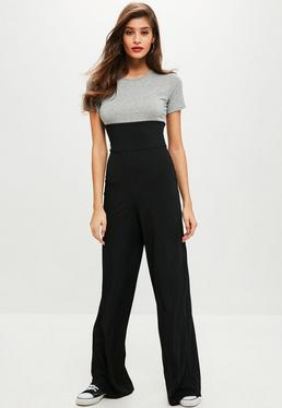 Grey Corset Ribbed Jumpsuit