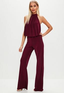 Red High Neck Double Layer Leg Jumpsuit