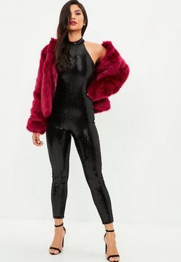 Black High Neck Sequin Jumpsuit