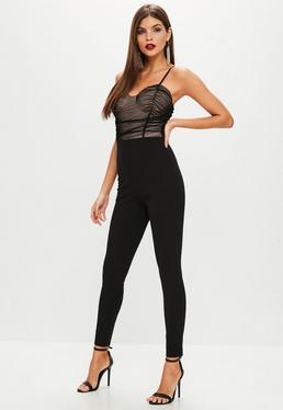 Black Mesh Corset Jumpsuit