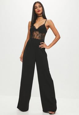 Black Lace Corset Wide Leg Jumpsuit