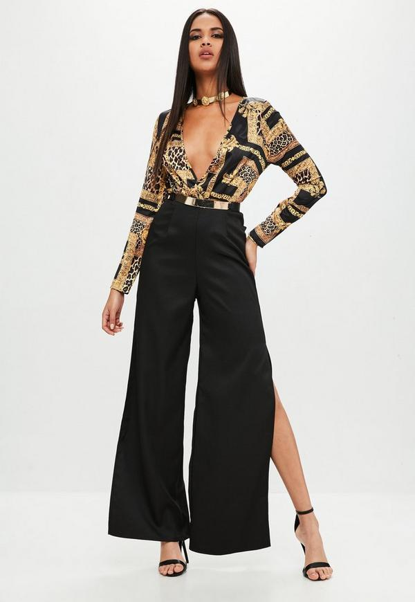 24308df55db5 Printed Wrap Front Long Sleeve Jumpsuit