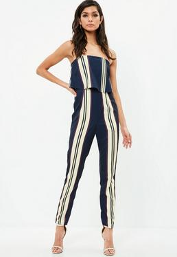 STRIPED DOUBLE LAYER BANDEAU JUMPSUIT