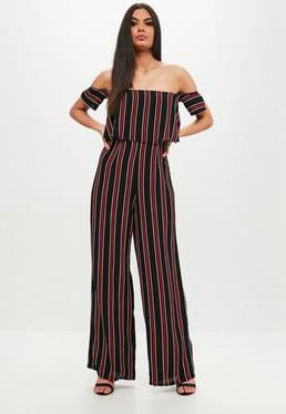 Black Stripe Crepe Bardot Jumpsuit