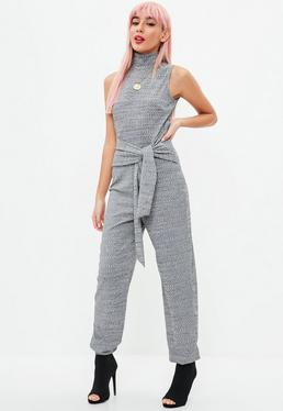 Grey Marl High Neck jogger Jumpsuit