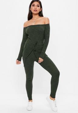 Khaki Bardot Skinny Leg Jumpsuit