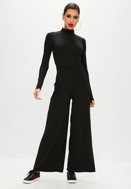 Black Ribbed High Neck Wide Leg Jumpsuit
