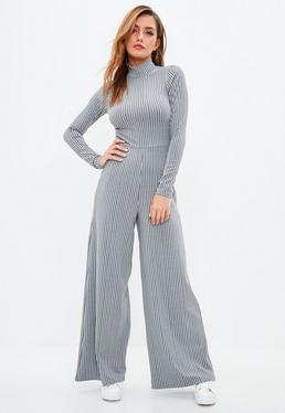 Grey Rib High Neck Wide Leg Jumpsuit