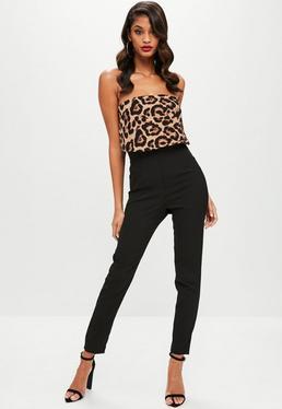 Brown Leopard Double Layer Jumpsuit