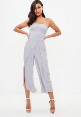 Gray Wrap Leg Bandeau Jumpsuit