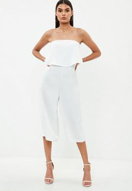 White Satin Double Layer Jumpsuit