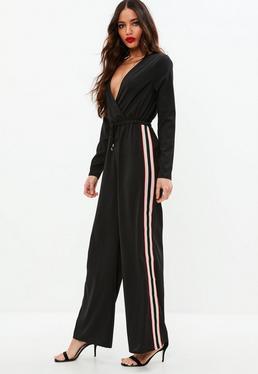 Black Side Stripe Wrap Jumpsuit