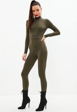 Khaki Ribbed High Neck Skinny Leg Jumpsuit