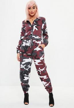 Red Camo Boiler Jumpsuit