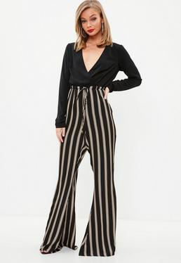 Black Wrap Long Sleeve Contrast Jumpsuit